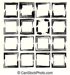 Set of black rectangle grunge frames. Geometric empty borders. Square frame. Vector illustration.