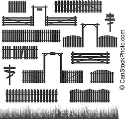 Set of black fences with gates
