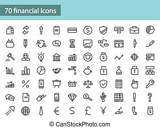 Set of black financial icons. Vector illustration