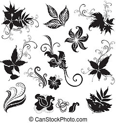 "Set of black floral design elements (from my ""Big floral ..."