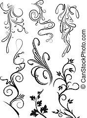 Set of black floral elements for your design.