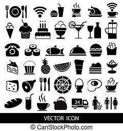 Set of black food icons. Vector illustration.
