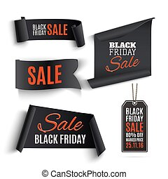 Set of Black Friday banners and price tags.