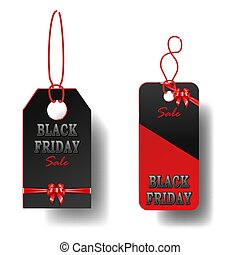 Set of Black Friday sale black rectangular tags. Advertising banner with gift bow and ribbon.