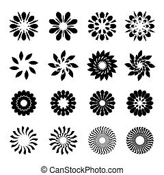Set of black geometric flowers, stars and graphic elements