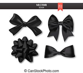 Set of black gift bows with ribbons. Vector illustration.