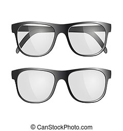 Set of black glasses. Isolated on white background. Stock vector