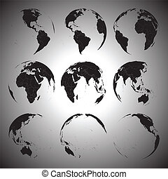 Set of black globe icons vector illustration.
