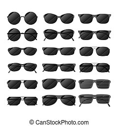 Set of black glossy sunglasses in different style on white