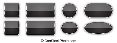 Set of black glossy vector buttons.