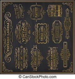 set of black gold-framed labels