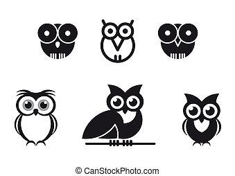 set of black graphic designed owls