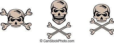 Set of black graphic skulls