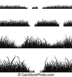 Set of Black Grass Silhouette. Vector