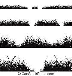 Set of Black Grass Silhouette. Vector