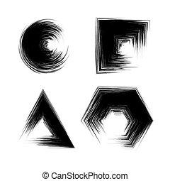 Set of Black Grunge Shapes