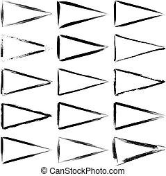 Set of black grunge triangle frames