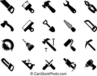 Set of black hand and power tools icons