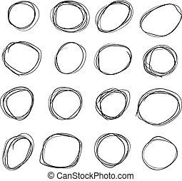 Set of black hand drawing grunge circle frames