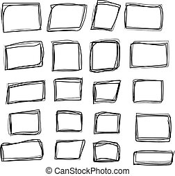 Set of black hand drawing grunge rectangle frames