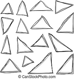 Set of black hand drawing grunge triangles