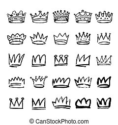 set of black hand drawn crowns - Set of black hand drawn...