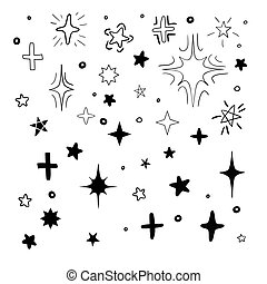 Set of black hand drawn vector stars in doodle style on ...