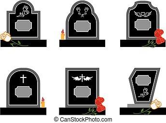 headstone - Set of black headstones with flowers