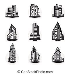 Set of black high-rise buildings and facades of buildings.