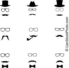 Set of black hipster icons, vector illustration