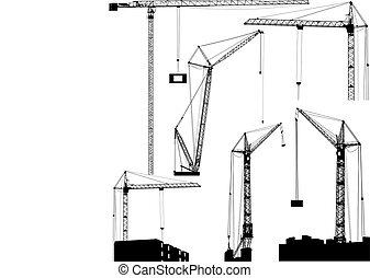 Set of black hoisting cranes isolated on white background....