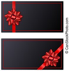 Set of black holiday gift card with red ribbon and bow. Template for a business card, banner, poster, notebook, invitation