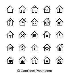 Set of black house icon. Vector Illustration.