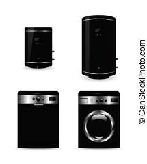 Set of black household appliances