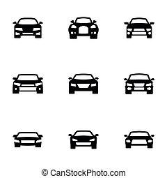 Set of black icons isolated on white background, on theme Car