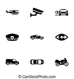 Set of black icons isolated on white background, on theme Police