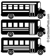 Set of black icons school buses.
