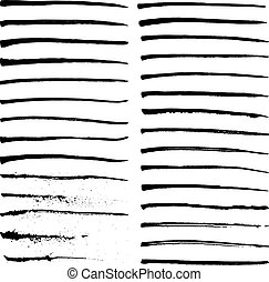 Set of black ink strokes, vector illustration
