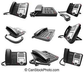 Set of Black IP office phone isolated