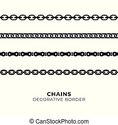 Set of black isolated of chains on white background. Seamless pattern of chain. Decorative border - Vector