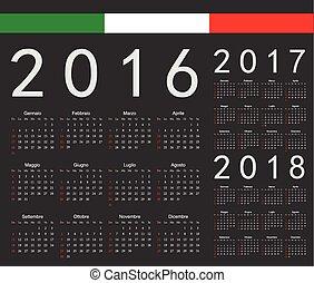 Set of black Italian 2016, 2017, 2018 year vector calendars. Week starts from Sunday.