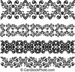 Set of black lace borders isolated on white background