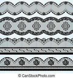 Set of black lace ribbons