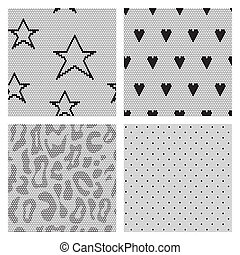 Set of black lace vector fabric seamless patterns.