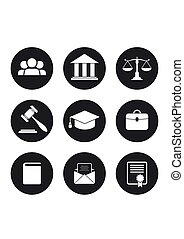 Set of black Law and Justice Icons.