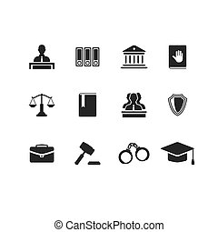 Set of black law and justice icons with a Judge briefcase book hammer jurors handcuffs scales hat lawyer court building icon police oath