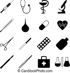Set of black medical icons, vector illustration