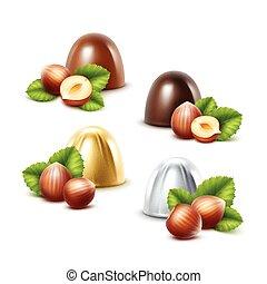 Set of Black Milk Chocolate Candies with Hazelnuts
