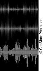 music sound waves - Set of black music sound waves digital...