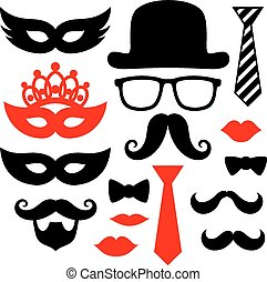 props - set of black mustaches, lips and silhouettes design ...